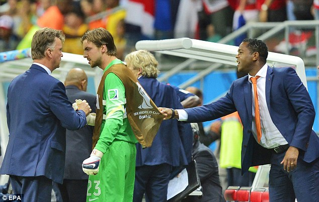 Legal: Van Gaal's (left) decision to bring on Krul (centre) was within the laws of the game