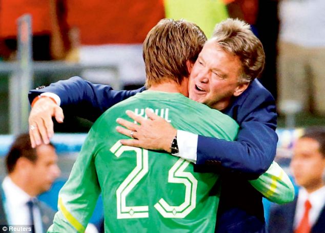Masterstroke: Louis Van Gaal congratulates Krul after he brought the goalkeeper on for shoot-out