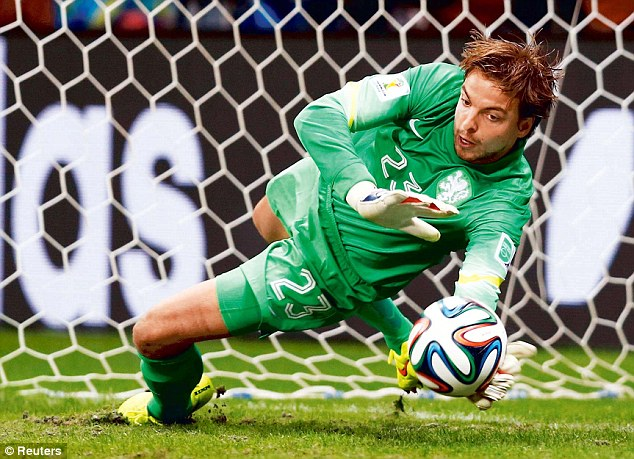 Mind games: Holland manager Louis van Gaal's decision to bring on Tim Krul (pictured) was a masterstroke