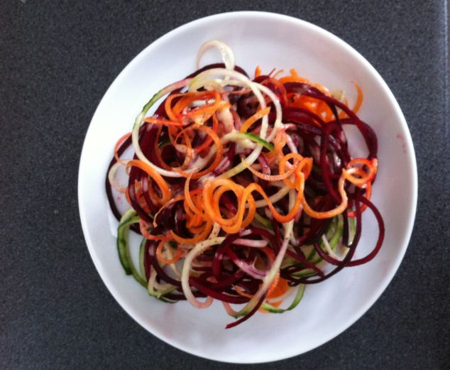 Seeing spirals: Mandy tries out the spiralizer on beetroot, carrots, courgette and cucumber