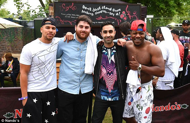 Working up an appetite: The Rudimental boys put in a special order for some tasty chicken after working up a sweat on stage.