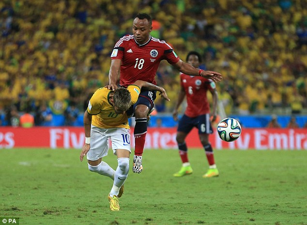 Attacked: Neymar (left) and James Rodriguez were consistently fouled by opposition players
