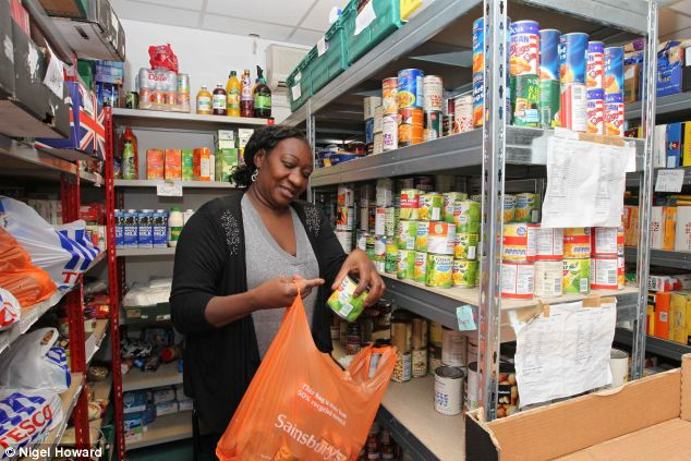 Volunteer: Felicia Boshorin, the Project Manager at the Southwark Food bank prepares shopping bags of food for those in need