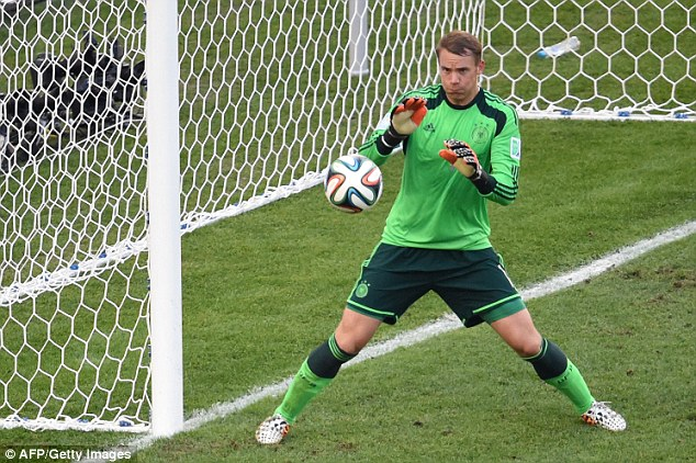 Safe hands: Manuel Neuer has impressed for Germany so far, keeping three clean sheets so far