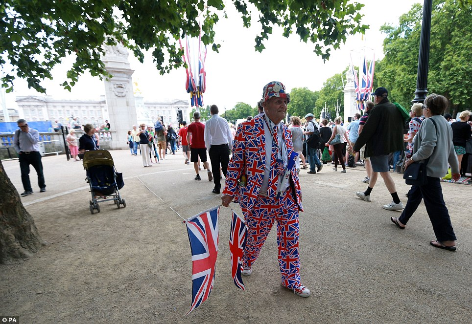 Patriotic: Royal fanatic Terry Hutt on The Mall gets ready for stage three of the Tour de France as it finishes in London