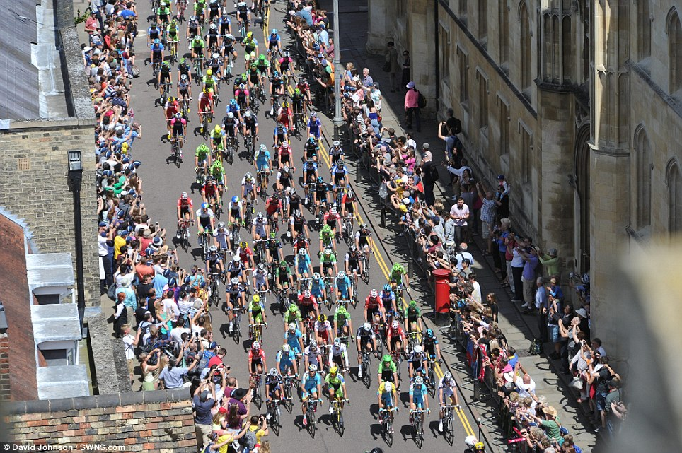 From above: The Tour de France begins its third stage from Cambridge, as seen from the Pitt Building