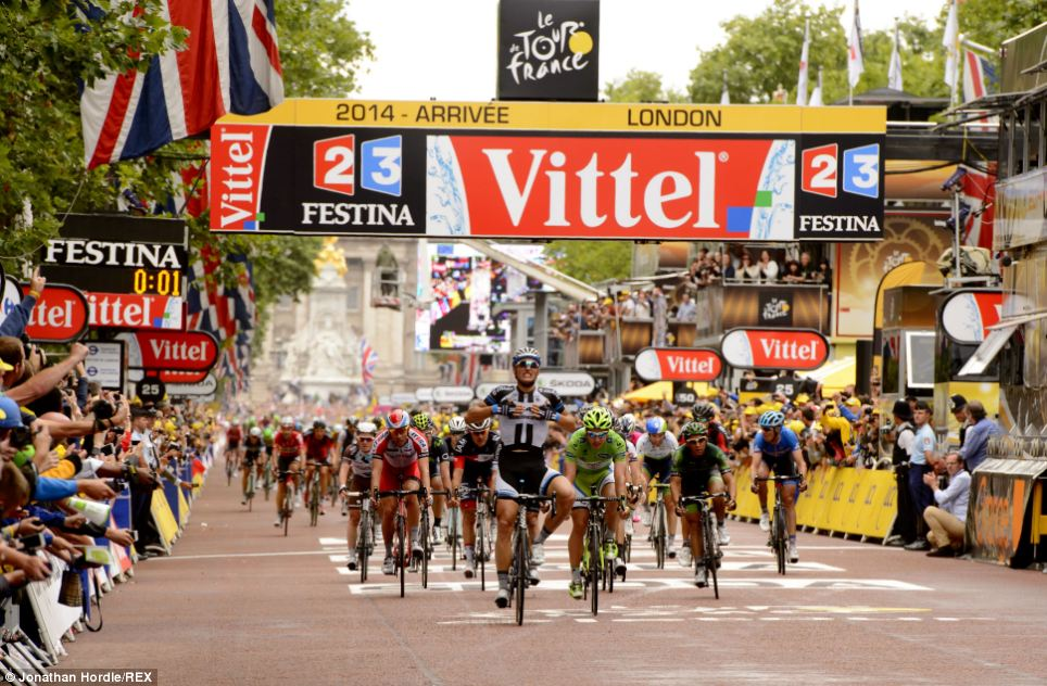 Winner: Marcel Kittel looks emotional as he secures victory on the third stage of the Tour which finished in central London
