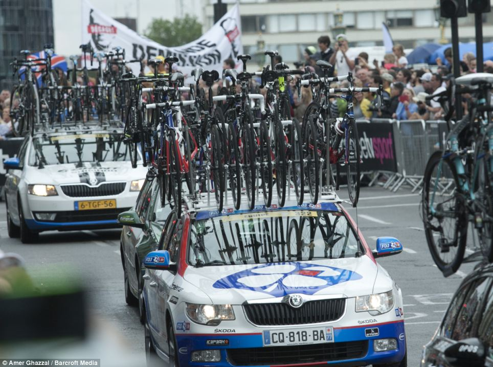 Tour de France: Thousands of people lined the streets of central London today as the riders and team cars made their way through the city's streets for the competition