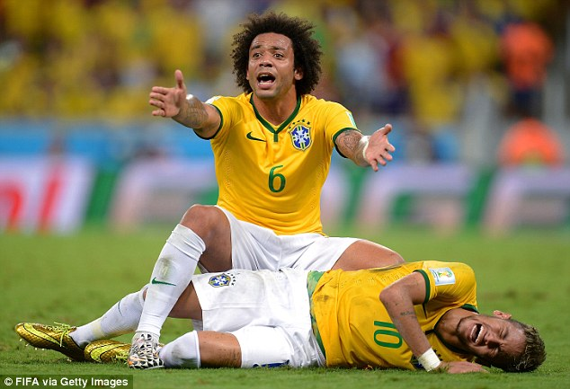 Down and out: Neymar was ruled out for the tournament after suffering a back injury