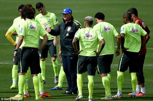 Meanwhile: Luiz Felipe Scolari's side train ahead of their semi-final showdown with Germany