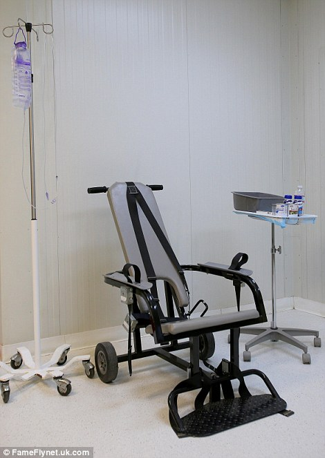 Force-feeding: The restraint chair used to force-feed detainees on hunger strike at the detainee hospital in Camp Delta which is part of the U.S. military prison for 'enemy combatants' in Guantanamo Bay, Cuba