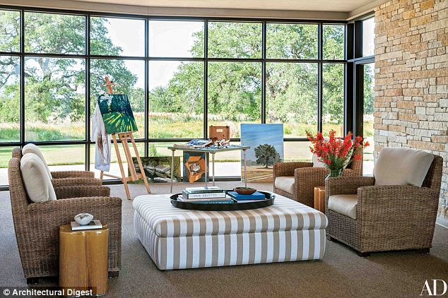 Room with a view: Mrs Hager says the Breezeway is where her father paints and where the family has meals, including Thanksgiving with her 'darling grandparents'