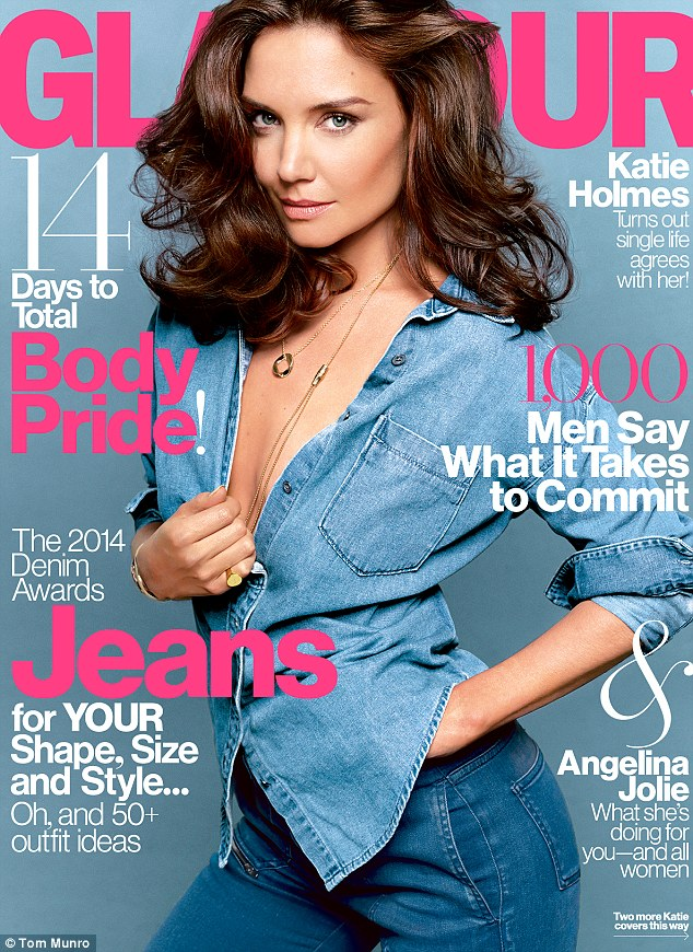 Double denim delight: Katie Holmes graces the August cover of Glamour magazine, looking simply stunning as she tugs at her denim shirt to reveal a hint of cleavage