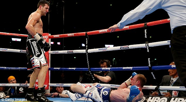 Floored: Groves was beaten by Froch at Wembley Stadium in May