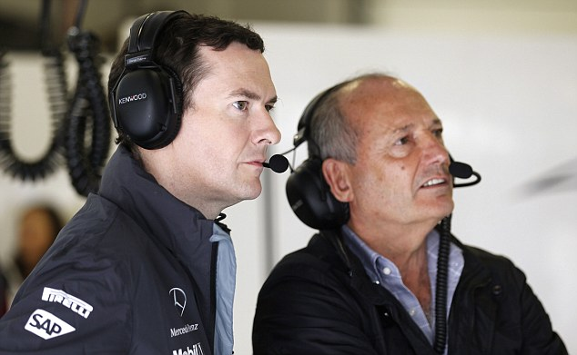 Money talks: Ron Dennis (right, with chancellor George Osborne) watches qualifying for the British Grand Prix