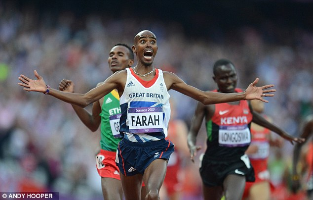 Mo-numental: Farah crossing the line to win his second gold medal during London 2012