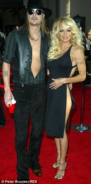 Her other exes: With Tommy Lee in 2001 (left) and with Kid Rock in 2003 (right)