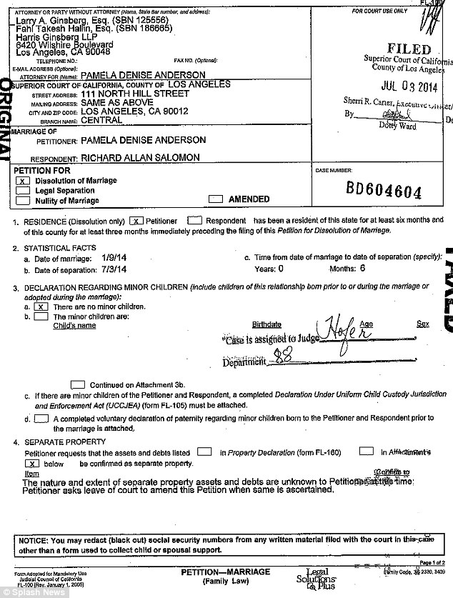 The paperwork: Anderson filed on Thursday and noted that she was not sure about 'property assets'
