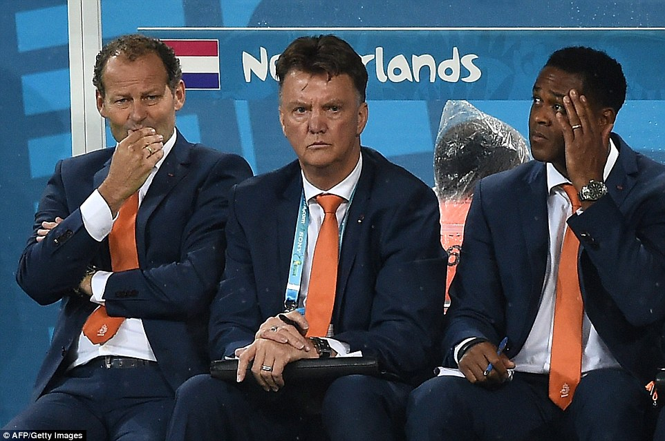 Uneventful: Netherlands' coach Louis van Gaal (centre), Manchester United's incumbent manager, looks on as his side look to book a place in the final