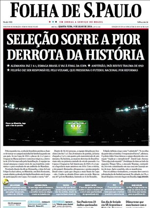A first: Folha de Sao Paulo say Brazil suffered the worst defeat in history
