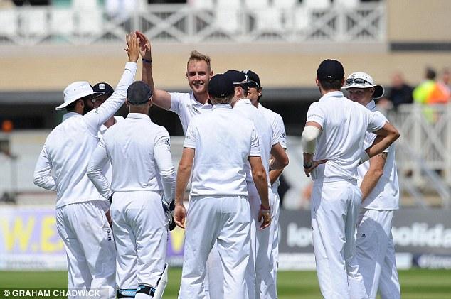 Prize wicket: Stuart Broad celebrates his dismissal of India danger man Virat Kohli for a solitary run