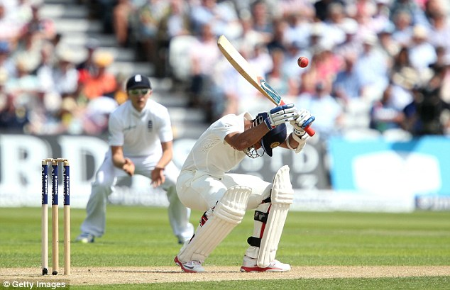 Short stuff: Ajinkya Rahane evades a bouncer from Anderson before falling to a similar ball from Liam Plunkett