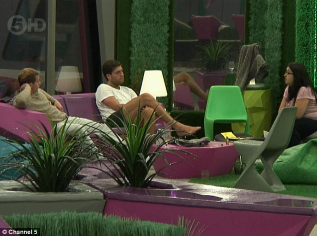 Pow wow: All the housemates took to the garden to talk about Marlon's actions