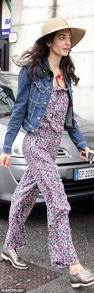 Quirky: The fiancée of George Clooney added a denim jacket, wide-brimmed hat and silver brogues to complete her outfit