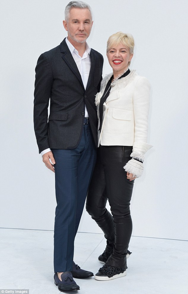 New look: Catherine debuted her new pixie haircut as she posed with Baz at the Chanel Paris Fashion Week Show on Tuesday