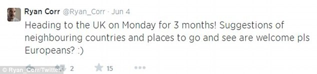 On June 4 Ryan told his Twitter followers he was heading to the UK for three months and asked for recommendations for places he should visit. He is currently filming new British drama series Banished