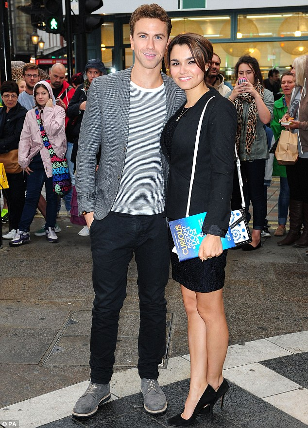 Keeping close: Samantha Barks cosied up to boyfriend Richard Fleeshman at the opening of The Curious Incident of the Dog in the Night-Time at London's Gielgud Theatre on Tuesday