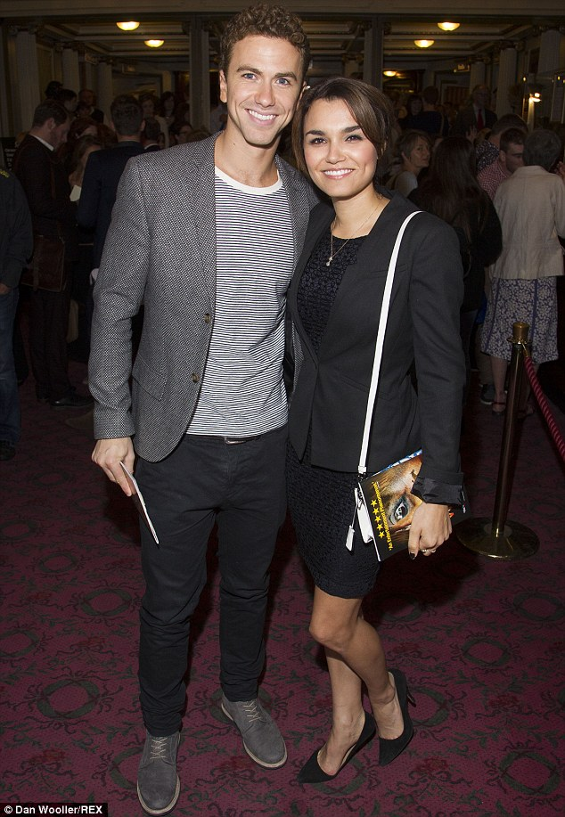 Loved-up: Samantha teamed her textured number with a plain black blazer and classic stilettos