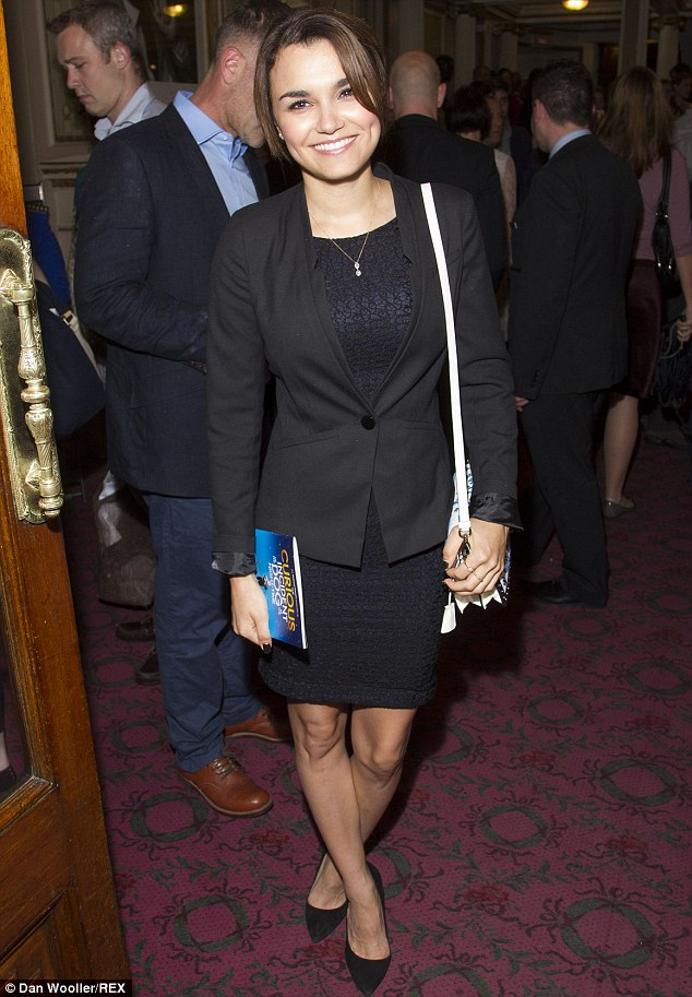 Turning heads: The Les Misérables actress showed off her trim pins in a simple shift to watch the hit show on it's return to the West End