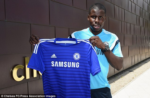 Time delay: Kurt Zouma was finally unveiled as a Chelsea player having signed in January