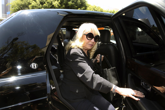 Lawsuit: Shelly Sterling, the wife of Los Angeles Clippers owner Donald Sterling, arrives at a Los Angeles courthouse for a trial over the $2 billion Los Angeles Clippers sale on Tuesday, July 8, 2014, in Los Angeles