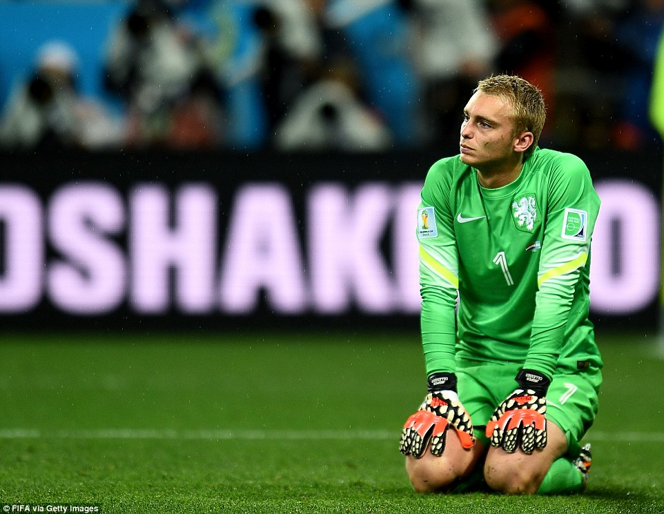 Dejection: Jasper Cillessen, Holland's goal keeper, shows his disappointment as his side are eliminated from the World Cup