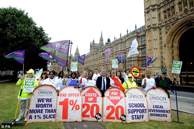Unison General secretary Dave Prentis (centre) joins public sector workers and members of Unison as they gather outside the Houses of Parliament in central London during the one-day walkout as part of bitter disputes over pay, pensions, jobs and spending cuts. PRESS ASSOCIATION Photo. Picture date: Thursday July 10, 2014. Schools across England and Wales were facing closures and disruption today as teachers joined other public sector workers for a national strike. In total, more than a million people were taking part in the one-day walkout. The action has been hailed as the biggest strike over pay to hit the Government since it came to power in 2010. See PA story INDUSTRY Strike. Photo credit should read: Nick Ansell/PA Wire