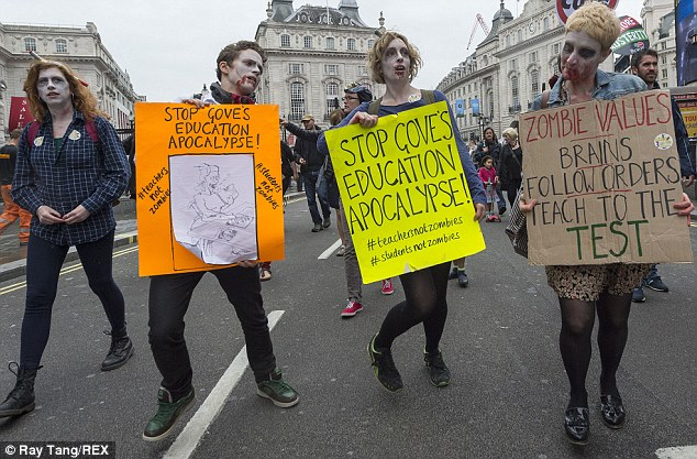 Ghoulish: Teachers dressed and moved like the living dead as they claim Michael Gove's education reforms are turning them and their students into zombies
