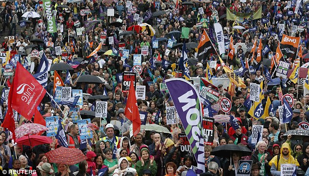 Mix:Teachers, firefighters, passport office workers, job centre advisers, courts staff and council workers joined the London march