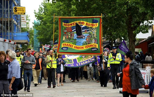 TUC members in Norwich march through the city by politicians have argued their action lacks a mandate