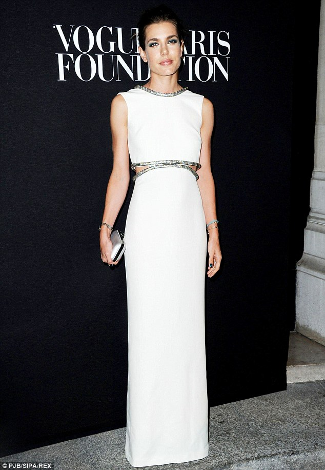 The royal seal of approval: Charlotte Casiraghi of Monaco looked incredible in a floor-length sweeping white gown