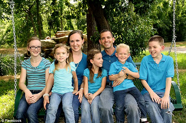 Total tragedy: This photograph is shows Stephen Stay, 39 and Katie Stay, 34 and their five children, including their heroic 15-year-old daughter, Cassidy, (left to right) Rebecca, seven, Emily, nine, Zachary, four and Bryan, 14