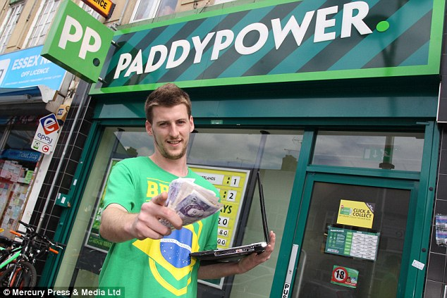 Winner: John Moore, 28, of Woodford, east London, claims he had a 'premonition' the day before Tuesday's semi-final match and had 'the numbers one and seven in my head', before deciding to place the bet