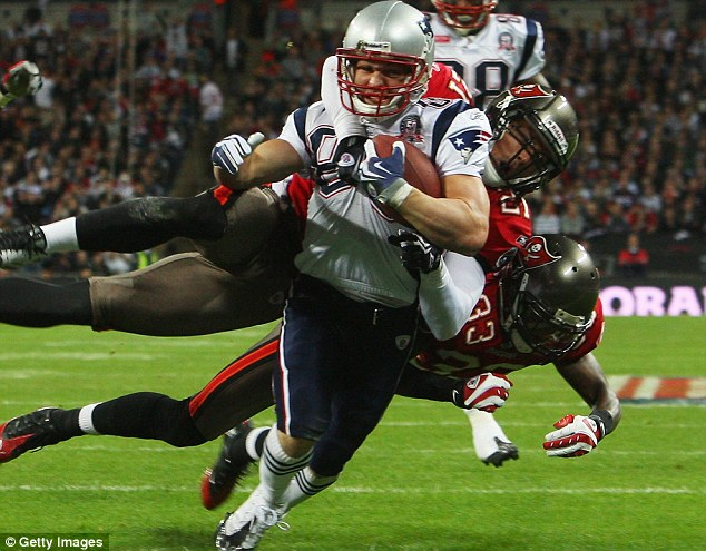 London calling: Welker scores a touchdown for New England Patriots against Tampa Bay Buccaneers at Wembley in 2009