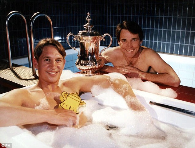 Scrub up for the Cup: Hansen and Lineker strip off to publicise the BBC's coverage of the FA Cup in 1997