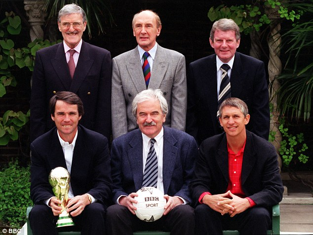 Top of the world: The BBC's team at the 1998 World Cup in France - (back row, left to right) Jimmy Hill, Barry Davies and John Motson; (bottom row, left to right) Hansen, Des Lynam, Gary Lineker