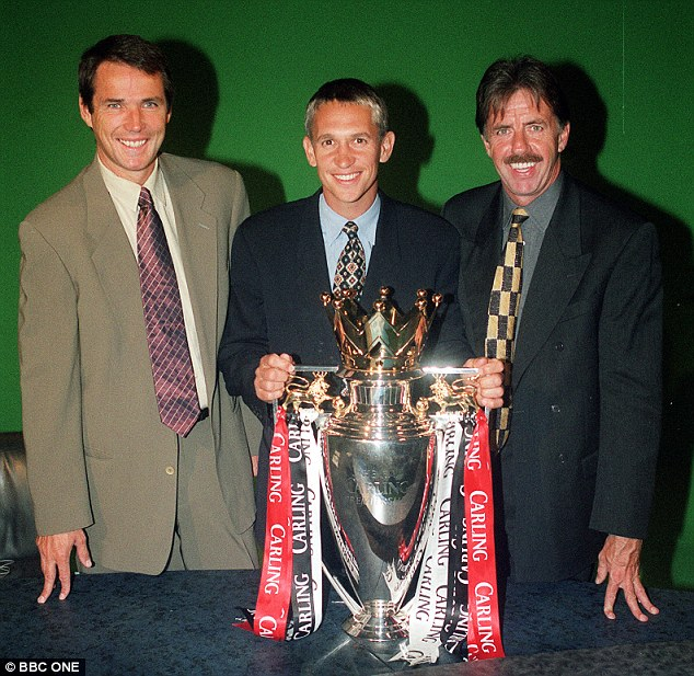 Trophy trio: Hansen (left) with Gary Lineker (middle) and Mark Lawrenson (and the Premier League trophy) in a Match of the Day publicity shot prior to the 1999-2000 season