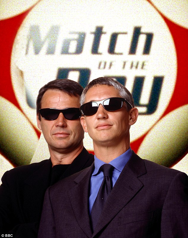 Cool customers: Hansen and Lineker don shades to promote the BBC's coverage of England's World Cup qualifiers in 2001