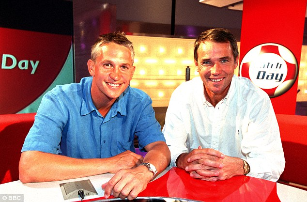 Front men: Hansen and Lineker pose in the Match of the Day studio in 2002 ahead of another season of expert analysis