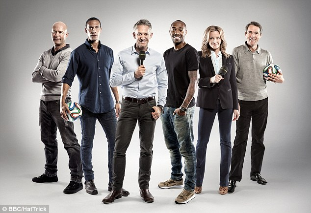 Final line-up: Hansen and the gang as he lines up for the final time with the BBC